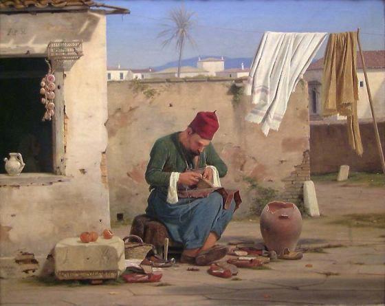 Έλληνας τσαρουχοποιός, Έργο του 1840, του Δανού ζωγράφου Martin Christian Wedseltoft Rørbye {1803 – 1848}, ο οποίος επισκέφτηκε την Ελλάδα μεταξύ 1835 & 1836 (Συλλογή Χαλκιάδη)