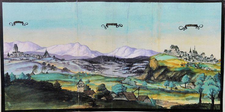 Będzin na akwareli Mathiasa Gerunga z 1536/1537 r..Historia | Rzymskokatolicka parafia Świętej Trójcy