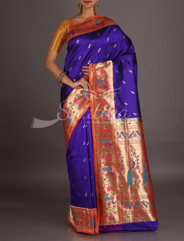 Sandhya Purple With Colorful Royal Peacocks On Border Pallu Real Zari Paithani Silk Saree