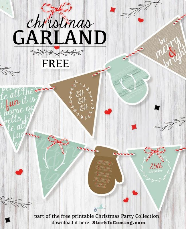 printable CHRISTMAS GARLAND - part of the free Christmas party Collection http://www.storkiscoming.com
