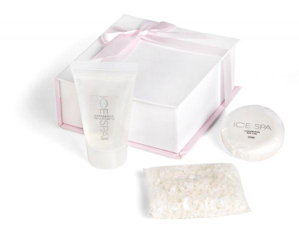 Exquisite Pamper Set  Description fragrance: ice spa 1 x 75ml bath & shower gel 1 x 100g bath crystals 1 x 50g bath soap   PRESENTATION BOX: 14.3 ( l ) x 13.6 ( w ) x 5.7 ( h )