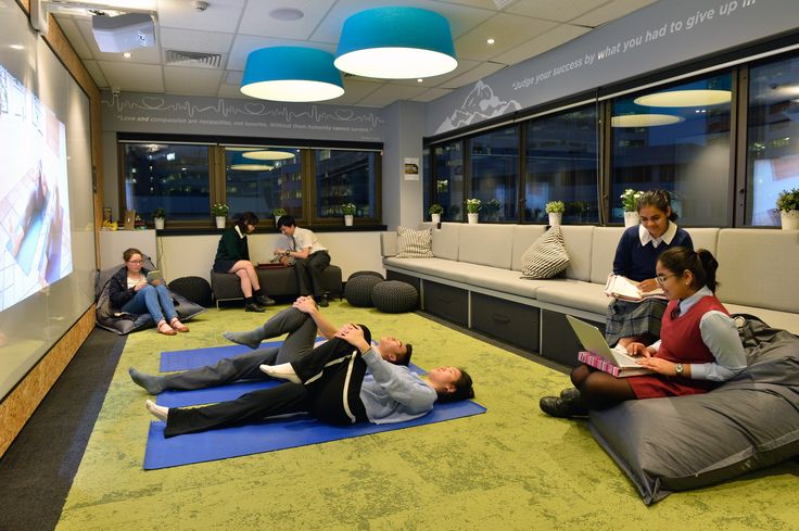 Talent 100 students using the Yoga facilities in the new Chatswood Recharge & Focus Room.
