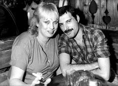 Freddie Mercury and Barbara Valentin.  She was a West German actress who was Freddie's on and off girlfriend in the 1980s.  She died in 2002.
