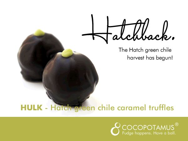 Hulk caramel truffles made with fresh fall Hatch green chiles from New Mexico!