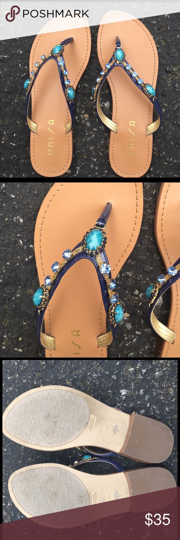 Unisa Size 10 Jeweled Sandals A beautiful pair of jeweled sandals. Size ten, worn twice! Unisa Shoes Sandals