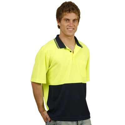TrueDry Mesh Knit S/S Safety Polo Min 25 - Made from Durable 100% CoolDry PolyMesh Knit Fabric that Features Contrast Collar with Two Stripes. #PoloShirts  #PromotionalProducts  #PromotionalPoloShirt  #CooldryPoloShirts