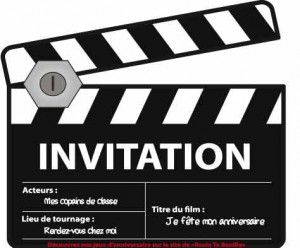 invitation d'anniversaire cinéma