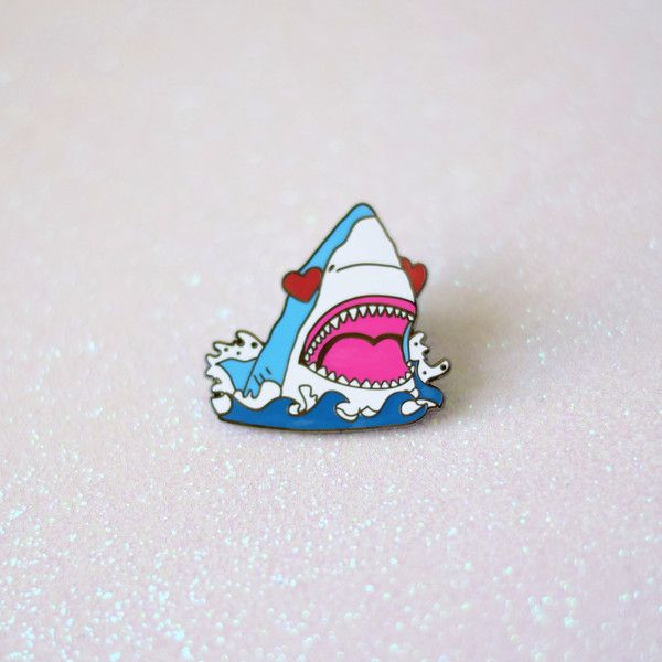 """So many feels in one pin! Sometimes my insides are full of love then bae says something dumb and I turn into a shark ready to bite his head off. -1.25"""" Black Nickel Plated Hard Enamel Pin with Rubber"""