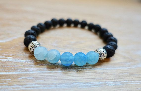 Rebirth and Calming Lava Stone & Blue Blud Beads Bracelets Natural Gemstone Healing Rock Reiki Gift Handmade Wristband Meditation Yoga