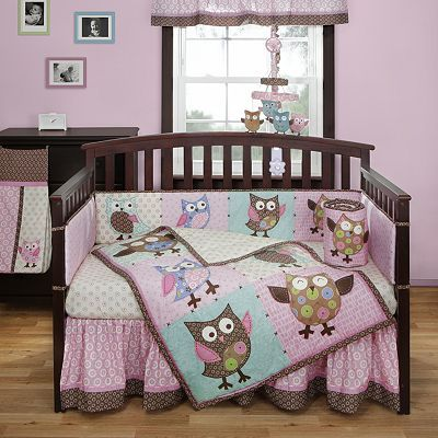 Bananafish Calico Owls 3-pc. Crib Bedding Set
