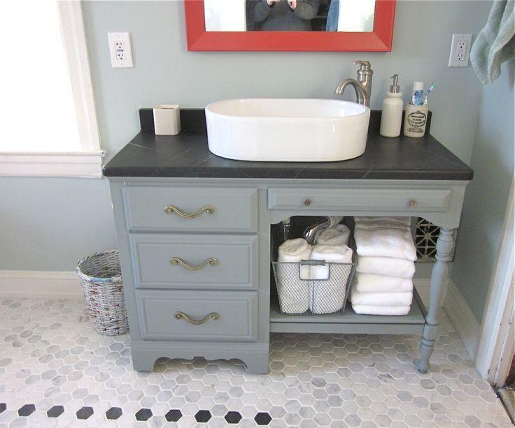 Turning Table Into Bathroom Vanity Google Search Meuble Salle De Bain Meuble Salle De Bain Ikea Et Salle De Bains Recup