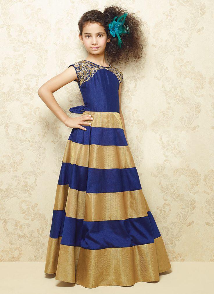 Navy Blue N Gold Silk Gown