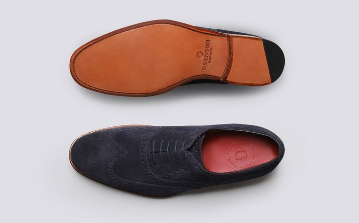 Mens Oxford Brogue in Navy Suede with a Leather Sole | Dylan | Grenson Shoes - Top & Bottom View
