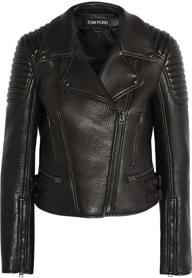 $6,990, Tom Ford Textured Leather Biker Jacket. Sold by NET-A-PORTER.COM. Click for more info: https://lookastic.com/women/shop_items/342401/redirect