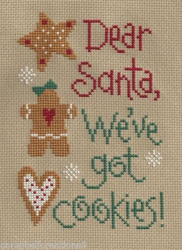 finished complete cross stitch LIZZIE KATE Dear Santa We've Got Cookies PREORDER