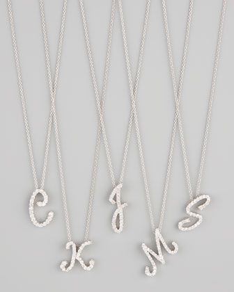 Diamond Initial Necklace by Roberto Coin at Neiman Marcus.