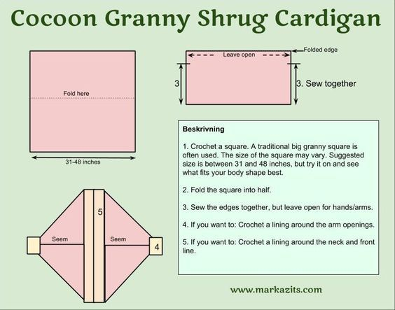 cocoon granny shrug cardigan kofta pattern diagram crochet …:
