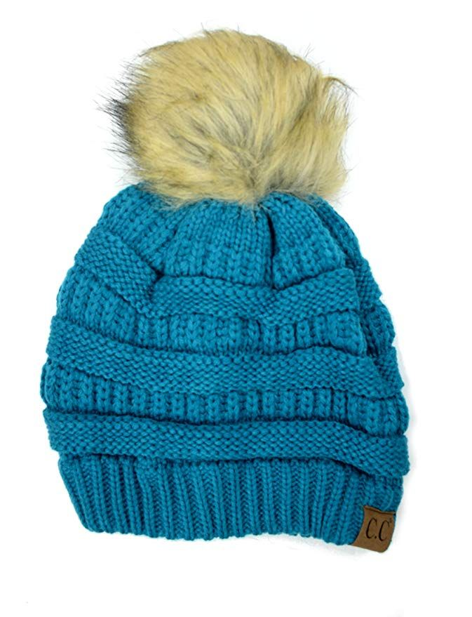 7b16556fe4cd9 Plum Feathers Soft Stretch Cable Knit Ribbed Faux Fur Pom Pom Beanie Hat  (Teal)