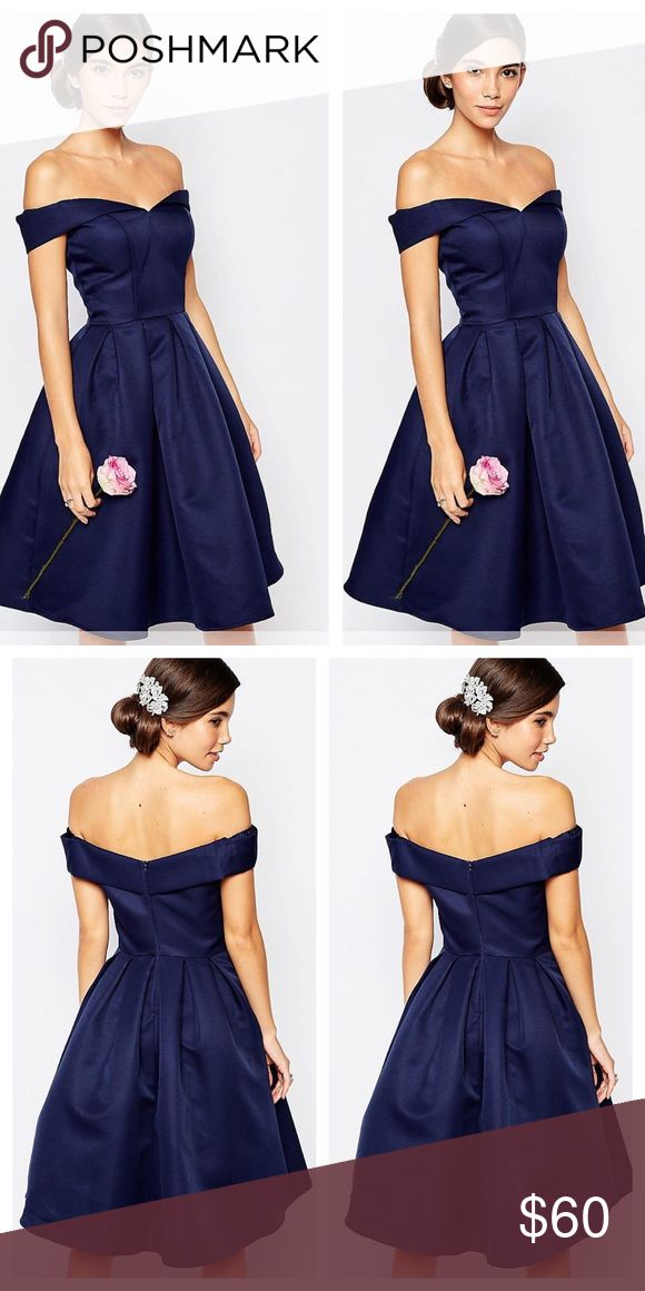 NWOT Chi Chi London dress • brand new navy midi prom dress • Bardot neck • full skirt • can be worn day or night on so many occasions • bought on ASOS • I'm selling the dress shown in first two photos • ASOS Dresses