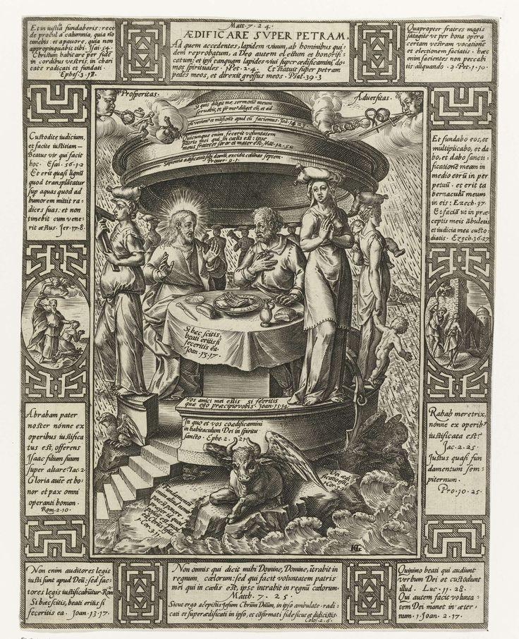 Hendrick Goltzius   Het huis gebouwd op een rots, Hendrick Goltzius, 1598 - 1604   Allegorie met centrale voorstelling van het huis gebouwd op een rots met daaromheen een omlijsting waarin citaten uit de bijbel gecombineerd zijn met de verbeelding van bepaalde gebeurtenissen uit de bijbel.