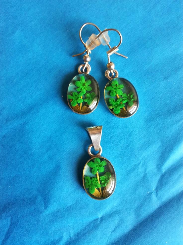Green flowers, Sterling Silver, locket, earrings