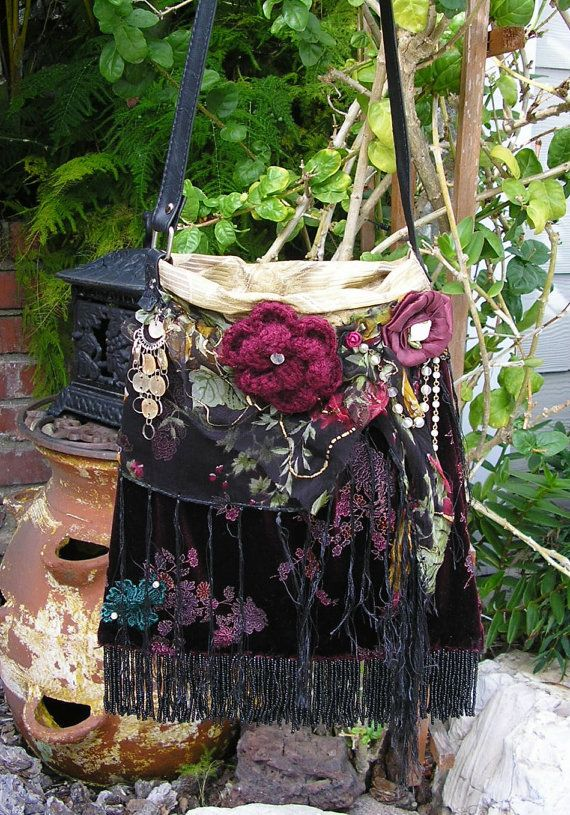 RESERVED Beaded Fringe Gypsy Bag, floral velvet fabric, beaded, burgundy black. $58.00, via Etsy. find more mens fashion on www.misspool.com