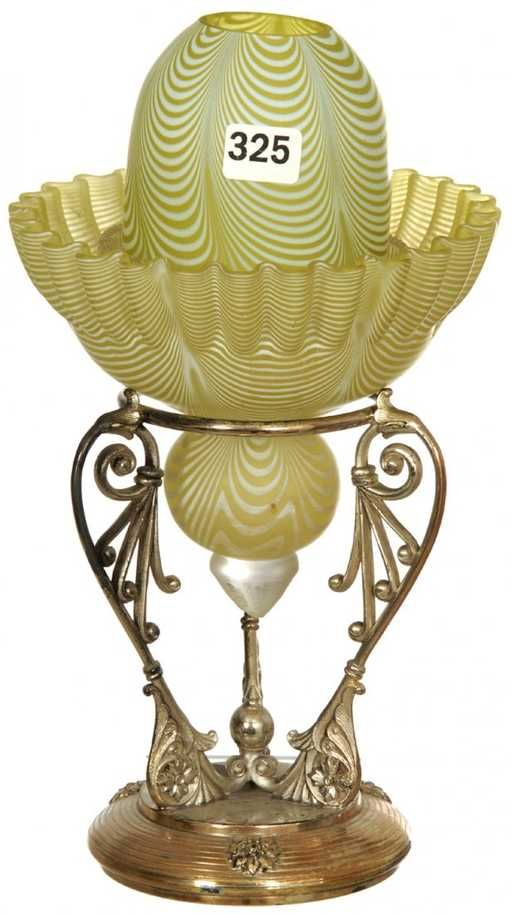 """10"""" YELLOW AND WHITE NAILSEA ART GLASS FAIRY LAMP ON"""