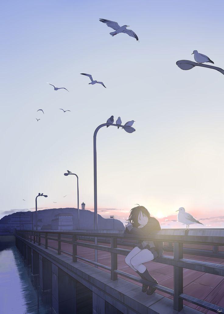 Anime girl - landscape