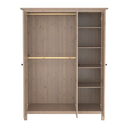 HEMNES Wardrobe with 3 doors IKEA The shelf is adjustable to four different positions. Solid wood, a hardwearing natural material. for the bedroom adding more storage