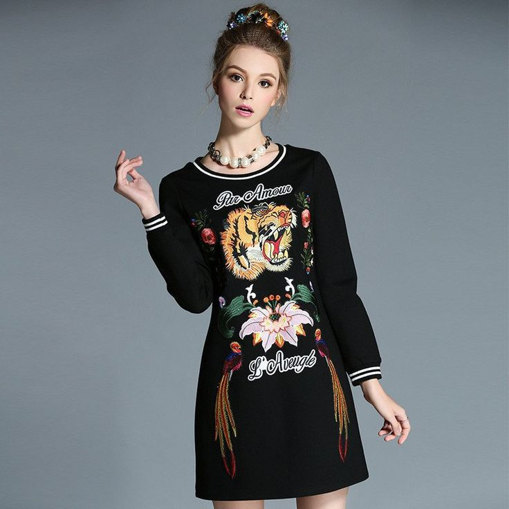 Women Black Long Sleeve T Shirt Dress Knitted Autumn Embroidery Dresses Plus Size Clothing l-5xl