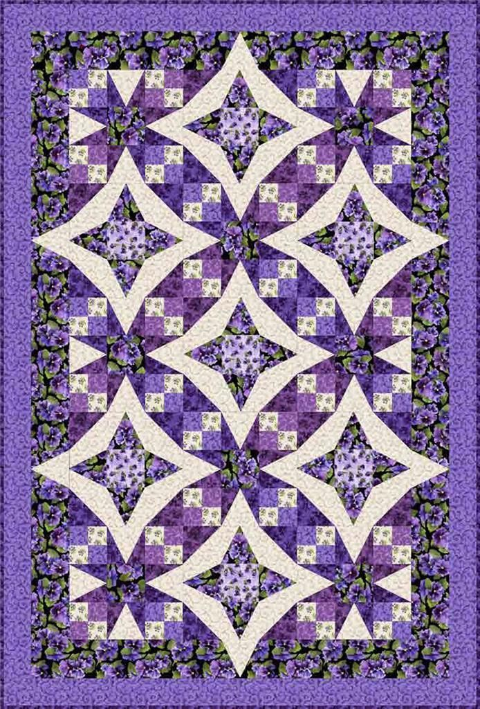 Lovely Lavender Pansy Paradise Purple Black Shabby Floral Rose Quilt Kit 50 x 74 | eBay                                                                                                                                                                                 More