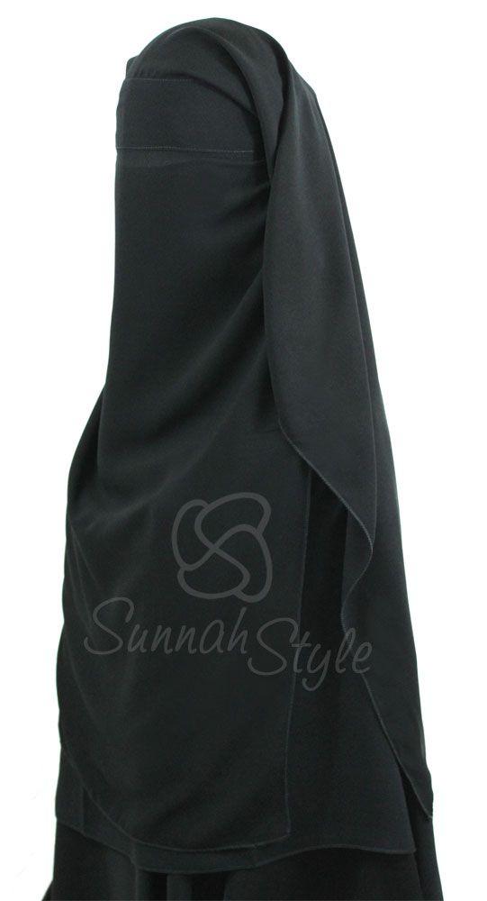 Long Three Piece Niqab (Black) by Sunnah Style #SunnahStyle #niqabstyle #niqaab