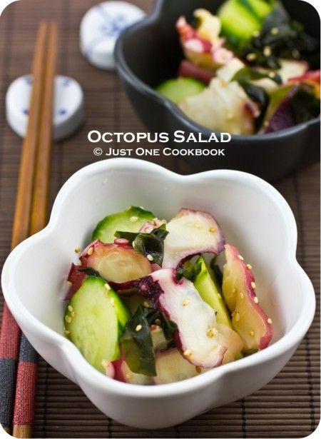 Japanese Octopus Salad (Tako Su) Ingredients:  ¼ lb. Octopus Sashimi 1/3 English cucumber (or 1 Japanese Cucumber) ½ Tbsp. dried seaweed (wakame) Vinaigrette 3 Tbsp. rice vinegar 1 Tbsp. + 1 tsp. sugar 1 tsp. soy sauce 1/8 tsp. salt 1 tsp. white sesame seeds