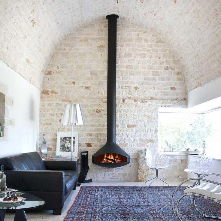 17 mejores ideas sobre pared de chimenea de piedra en - Instalar chimenea en casa ...