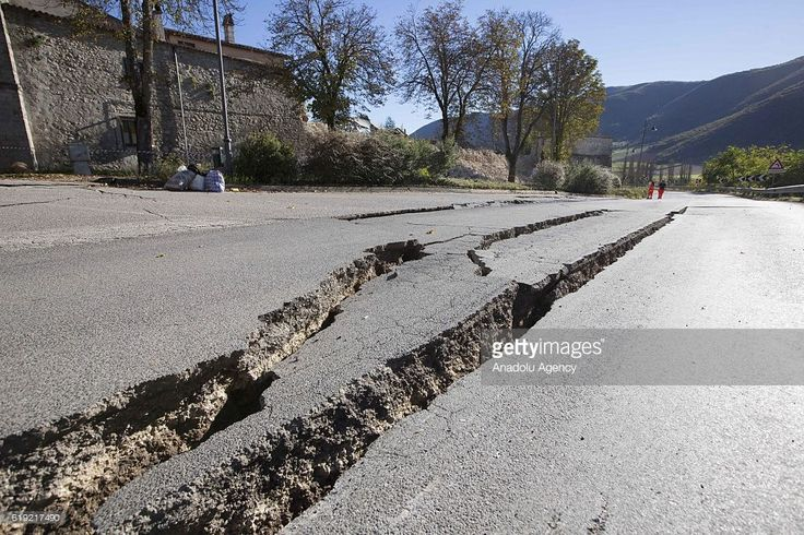 A street torn due to earthquake that hit central Italy, in Norcia, Italy, on October 30, 2016. A 6.5 magnitude earthquake shook Italy's central region on Sunday, according to the Italian National Institute of Geophysics and Volcanology.