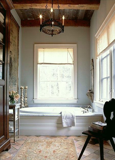 The Best No Fail Benjamin Moore Gray Bathroom Colors - laurel home   wonderful bathroom with and Oriental rug by Jill Kantelberg   love!