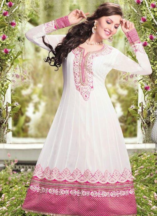 Exotic Pink & White Faux Georgette #Salwar Kameez #salwarkameez #pakistanisalwarkameez #womenapparel #ethnicwear