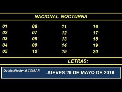 Quiniela Nacional Vespertina Jueves 26 de Mayo de 2016 www.quinielanacional.com.ar