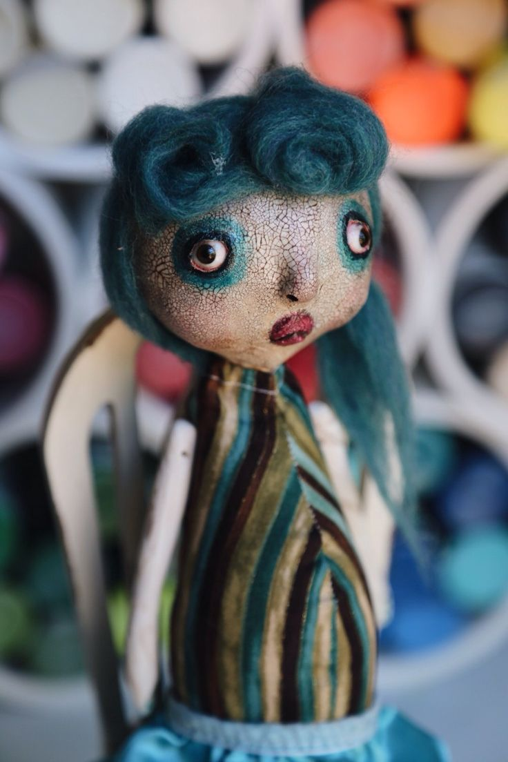 If you love Art Dolls, then you will love Teal. She has super cute Pin Up style hair made from super soft wool and is creepy cute. Oddly Sweet Dolls
