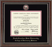 North Carolina State University Diploma Frame - Features a custom-minted medallion of your school seal enhanced with hand-painted color enamel accents. The medallion is placed in a special bevel cut opening within double black and red museum-quality matting and the school name is gold embossed below. It is framed in our Chateau moulding with a rich French walnut finish and coordinating inner lip.   #dreamoffice @Church Hill Classics