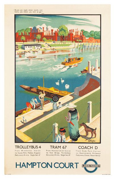 Hampton Court Travel Poster - Poster Paper, Sticker or Canvas Print