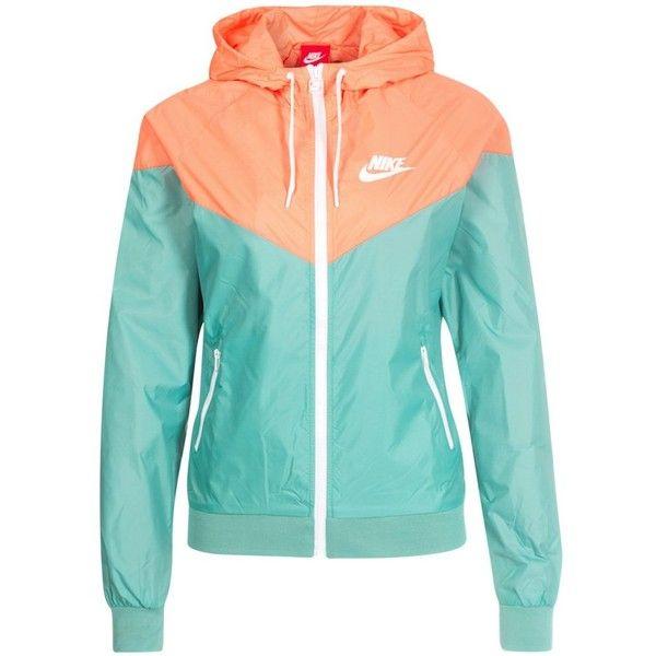 Nike Sportswear WINDRUNNER Summer jacket (2.080 CZK) ❤ liked on Polyvore featuring outerwear, jackets, tops, shirts, nike, green, green zipper jacket, zip pocket jacket, nike jackets and summer jacket