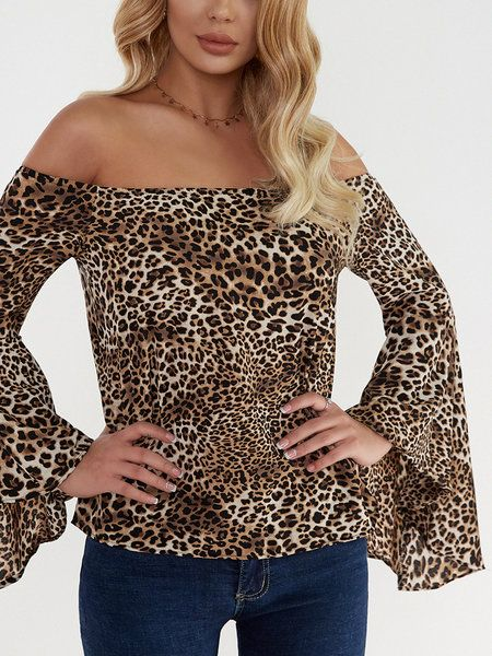 11976a964be56c Leopard Print Elastics Off-The-Shoulder Bell Sleeves Top - US 19.95 -YOINS