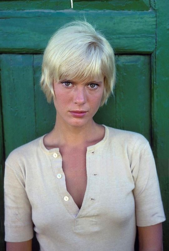 """Mimsy Farmer, on the set of """"More"""", photographed by Giancarlo Botti, France, October 1968"""