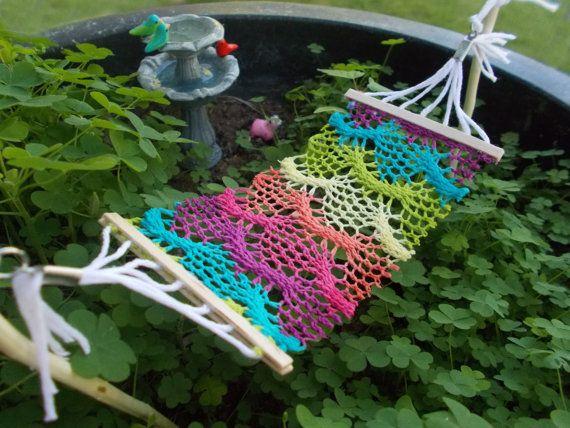 Bohemian Fairy Garden Hammock Crocheted Fabric Mniature Fairy Garden Faery Garden Gnome Planter