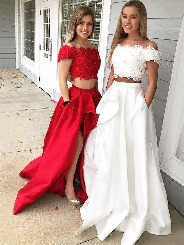 7ec83dc4627 A-Line Princess Off-the-Shoulder Sleeveless Sweep Brush Train Lace Satin  Two Piece Dresses