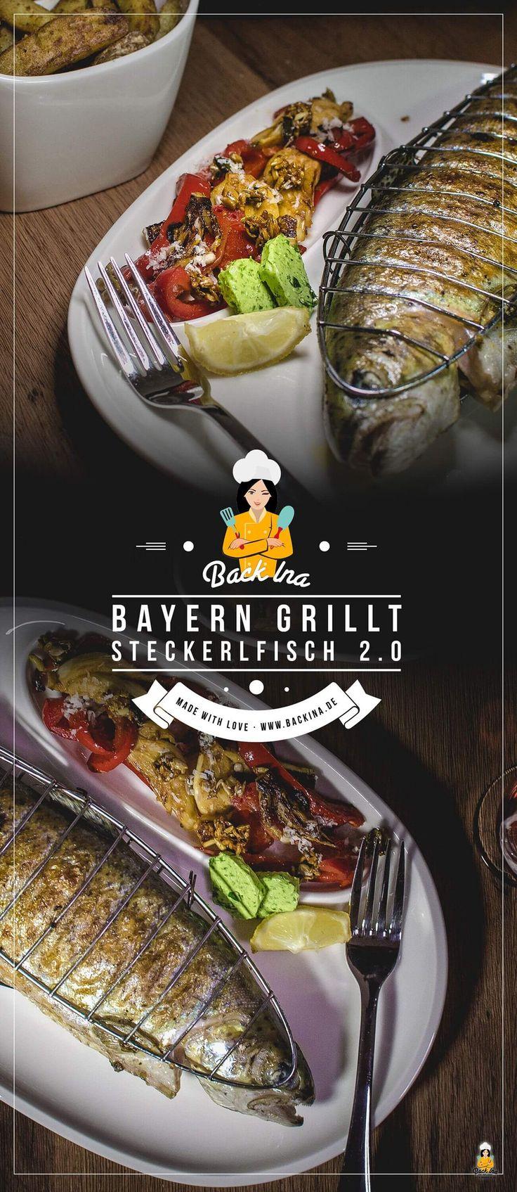 Steckerlfisch, die typisch bayerische Spezialität, kannst du leicht selber machen: Forelle mit Kräuter-Marinade und Chili-Marinade vom Grill mit Grillgemüse-Salat und selbstgemachten Pommes vom Grill. Gesund und lecker! | Backina.de