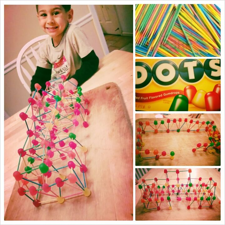 Preschool project: gumdrop house with toothpicks