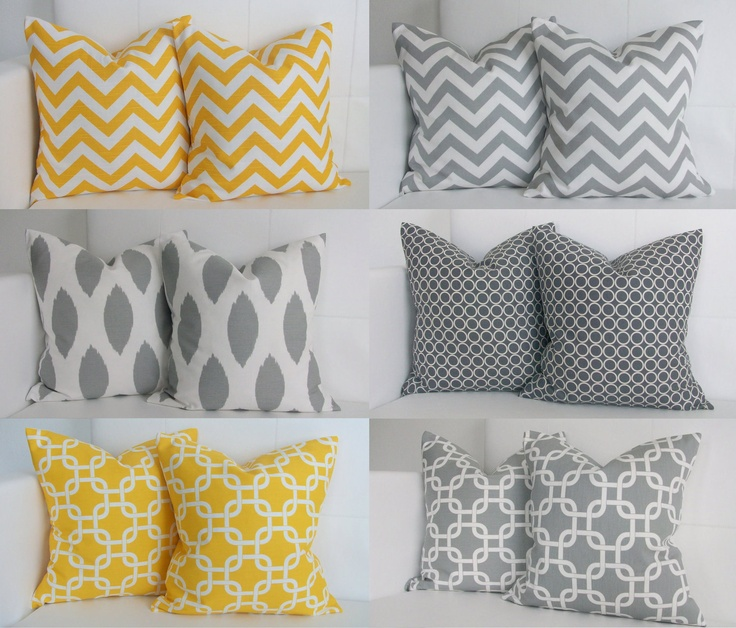 Yellow And Grey Throw Pillow Covers : Ahhhh!! NICE!!! SIX Yellow and Gray Pillows Decorative Throw Pillow Covers for Grey and Yellow ...