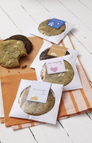 cookies packaged in CD sleeves! :-)  awesome idea. The site is not in English, but the picture above is self explanatory, so I think you have the idea. Great way to leave a little treat for someone.
